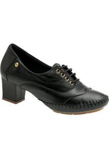 Oxford Doctor Shoes 790 Em Couro Feminino - Feminino-Preto