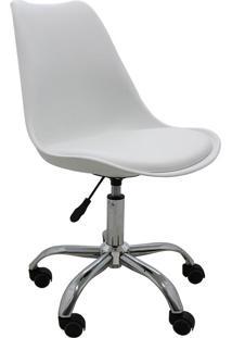 Cadeira De Escritório Rodízio Cromada Luisa-Rivatti - Branco