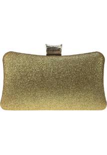 Bolsa Clutch Liage Festa Brilhante Pedraria Metal Brilho Alça Alcinha Dourada