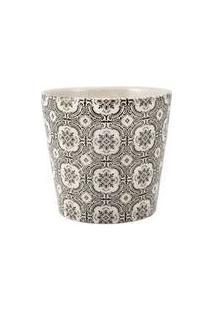 Cachepot Para Decoração De Ceramica Branco E Preto
