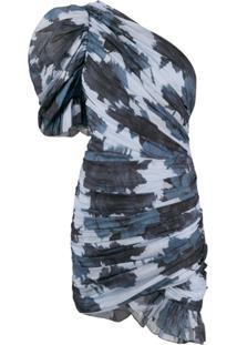 Alexandre Vauthier Vestido Com Mangas Bufantes E Estampa - Azul