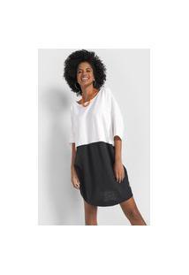 Vestido Cantão Curto Flamê Color Block Off-White/Preto