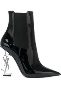 Saint Laurent Ankle Boot 'Opyum 110' De Couro Envernizado - Preto