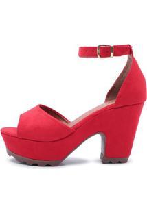 Sandália Top Franca Shoes Salto Alto Feminina - Feminino-Vermelho