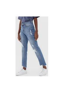Calça Jeans Hering Reta Cropped Destroyed Azul
