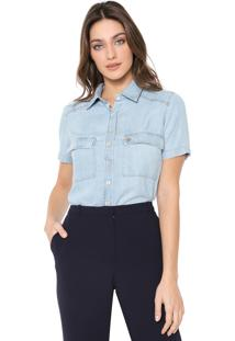 Camisa Jeans Dudalina Bolsos Azul