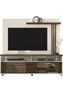 Rack Bancada E Painel Para Tv Até 65 Pol. Frizz Off White/Savana - Mad