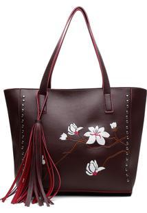 Bolsa Alice Monteiro Sacola Com Metais Bordado Floral Grande Franja Purpura