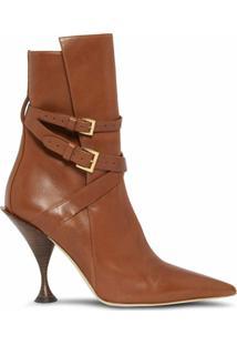 Burberry Ankle Boot Bico Fino - Marrom