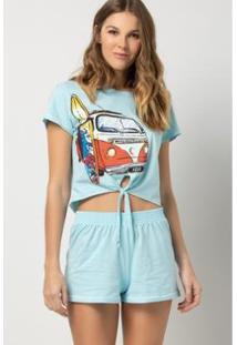Pijama Acuo Curto Amarrado Estação De Verão Feminino - Feminino-Azul