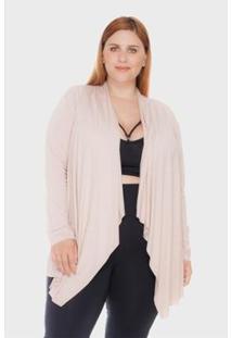 Cardigan Blanca Plus Size Vestem Feminino - Feminino-Nude