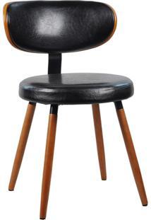 Cadeira Decorativa Para Escritório Recepção Scarlet Fixa Pu Preto - Gran Belo