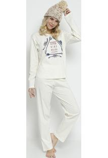 "Pijama ""Keep Your Mind""- Bege & Azul Marinhozulai"