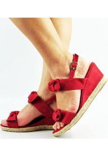 Sandália Antônia Domingues Anabela Salto Baixo Laços - Feminino-Vermelho