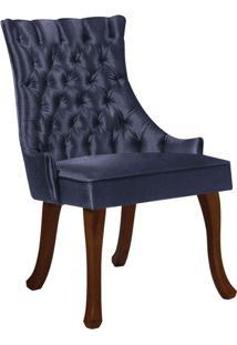 Cadeira De Jantar Leonardo Da Vinci Ii Capitonê Linho Azul Marinho