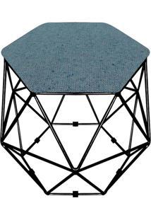 Puff D'Rossi Decorativo Aramado Geométrico Hexágono A58 Base Preta