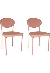 Conjunto Com 2 Cadeiras De Cozinha Bella Sarja Rosa
