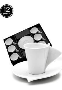Conjunto 6Pçs Xicaras De Café Com Pires Lyon Wolff Branco