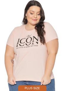 T-Shirt Básica Com Escrita Icon Rosa