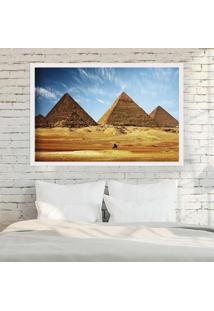 Quadro Love Decor Com Moldura Pirâmides De Gizé Branco Médio
