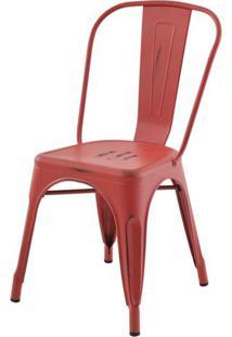 Cadeira Iron Tolix Sem Braco Vintage Vermelha - 28344 - Sun House