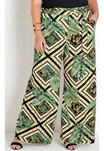 Calça Plus Size Pantalona Folhagem E Geométrico