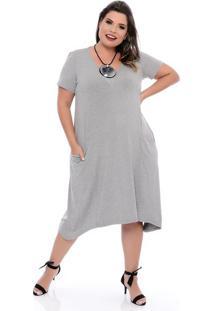 Vestido Comfy Cinza Plus Size