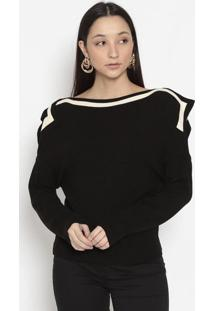 Blusa Ombro A Ombro Em Tricã´- Preta & Brancaenna