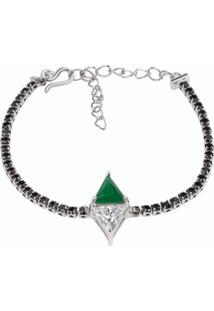 Pulseira Riviera Triângulos The Ring Boutique Pedra Cristal Verde Esmeralda Ródio Ouro Branco