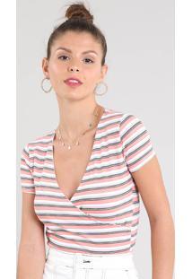 Blusa Feminina Cropped Transpassada Listrada Com Franzido Manga Curta Decote V Coral