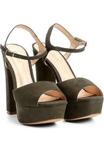 Sandália Couro Shoestock Meia Pata Feminina - Feminino-Verde Escuro