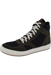 Sapatênis Galway Casual Em Couro Sneakers Preto/Cinza