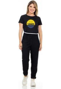 T-Shirt Cropped Clara Arruda Viés Estampada Feminina - Feminino-Preto