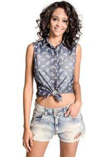 Camisa Regata Jeans Colcci - Feminino-Azul