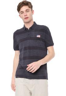 Camisa Polo Calvin Klein Jeans Reta Bordada Cinza