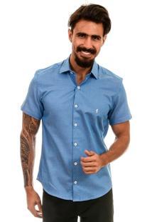 Camisa Bypride Manga Curta Poá Azul