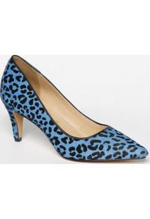 Scarpin Em Couro Animal - Azul & Preto- Salto: 7,5Cmluiza Barcelos