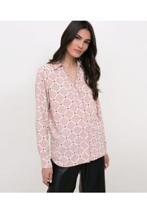 Camisa Com Estampa Geométrica Rosa