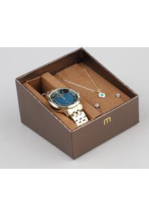 Kit De Relógio Analógico Mondaine Feminino + Brinco + Colar - 99302Lpmgde2K1 Dourado - Único