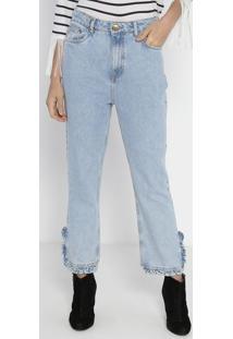 Jeans Reto Cropped Superliga Com Babados - Azul Claro