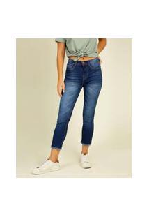 Calça Jeans Capri Feminina Barra Desfiada Razon