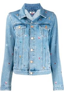 Tommy Jeans Embroidered Denim Jacket - Azul
