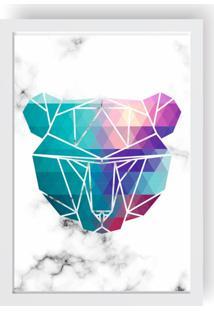 Quadro Decorativo Com Moldura Escandinavo Urso Branco