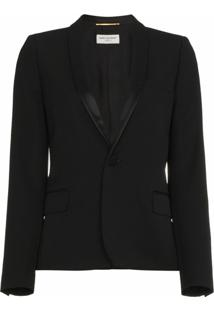 Saint Laurent Blazer Cropped 'Iconic Le Smoking' - Preto