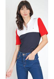 Camisa Polo Tommy Hilfiger Reta Color Block Branco/Azul