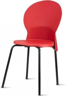 Cadeira Luna Assento Vermelho Base Preta - 53844 Sun House