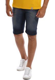 Bermuda Jeans Bamborra Slim Com Lycra Estonada Azul
