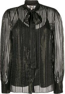 Diane Von Furstenberg Blusa De Seda Metálica Com Abotoamento - Preto