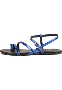 Sandalia Rasteira Mercedita Shoes Tiras Metalizadas Azul - Tricae