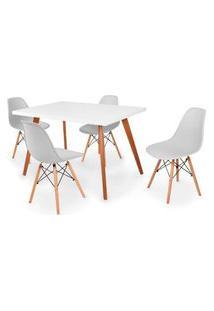 Conjunto Mesa De Jantar Gih 120X80Cm Branca Com 4 Cadeira Eames Eiffel - Cinza
